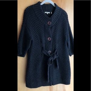 Vince charcoal gray cardigan with waist tie Small